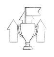 business trophy flag up arrows win success hand vector image vector image