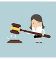 businesswoman hold a big gavel in hands for justic vector image