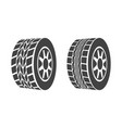 cartoon silhouette black tire or wheel icon set vector image vector image