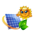 Cartoon sun in front of solar panel vector image vector image