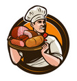 cook holding a tray meat products butcher shop vector image vector image