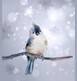 cute bird on a branch watercolor winter vector image