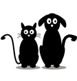 cute cat and dog silhouette vector image