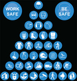Cyan Pyramid Health and Safety Icon collection vector image vector image