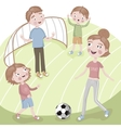 Family on vacation playing football vector image vector image