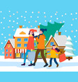family preparing for christmas city landscape vector image vector image