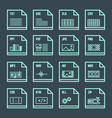 file formats minimal outline design icons set vector image