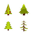 fir tree icon set flat style vector image