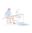 fisherman with rod catching fish in lake or river vector image vector image