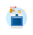 flat design icon kitchen with household vector image vector image