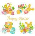 flat rabbit with easter eggs flowers set vector image