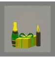 flat shading style icon fireworks champagne gift vector image vector image