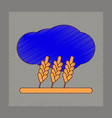 flat shading style icon wheat cloud vector image vector image