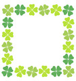 four leaf clover square frame vector image