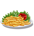 fries with ketchup vector image