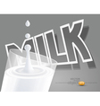 glass of milk on a gray background black white vector image vector image