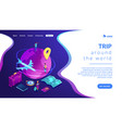 global travelling isometric 3d landing page vector image vector image
