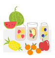 hand drawn fruit infused water in clear jar vector image vector image