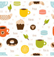 hand drawn tea seamless pattern set tea party vector image vector image