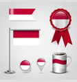 indonesia country flag place on map pin steel vector image
