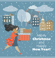 lovely girl in a hurry with gifts vector image