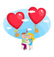 loving couple boy and girl dating in cafe vector image