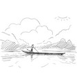 man standing and rowing long boat on lake vector image vector image