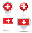 Map pins with flag of Switzerland vector image