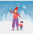 merry christmas mom and son trees snow snowflakes vector image vector image