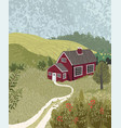 nature landscape with a house in scandinavian vector image