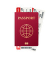 passport with tickets air travel concept flat vector image vector image