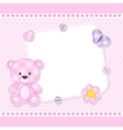 Pink teddy bear card vector image vector image
