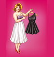 pop art fat woman holds hanger with dress vector image