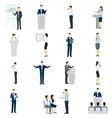 Public speaking people flat icons set vector image vector image