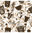 seamless pattern with cute cups of coffee and vector image