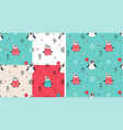 seamless patterns set with hand drawn penguins vector image