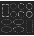 set hand drawn frames in a black background vector image