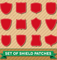 Set of shield shaped stitched patches vector image vector image