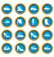 shoe icons blue circle set vector image vector image