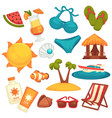 summer holiday equipments and clothes poster on vector image vector image