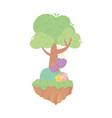 tree flowers bush nature vegetation cartoon vector image vector image