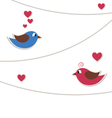 Two lovely birds with strings of buntings isolated vector image vector image
