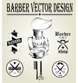 Vintage hand drawn logo of barber shop vector image