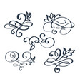 vintage set hand drawn flourish separator vector image vector image