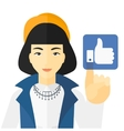 Woman pressing like button vector image vector image