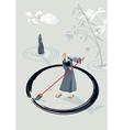 Zen Monk Painting A Circle vector image vector image