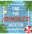 summer card with white square frame vector image