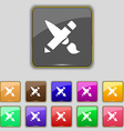 Brush Icon sign Set with eleven colored buttons vector image