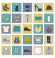 Clothing and shoes flat icons set with shadows vector image