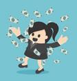 happy business woman money rain throwing money up vector image
